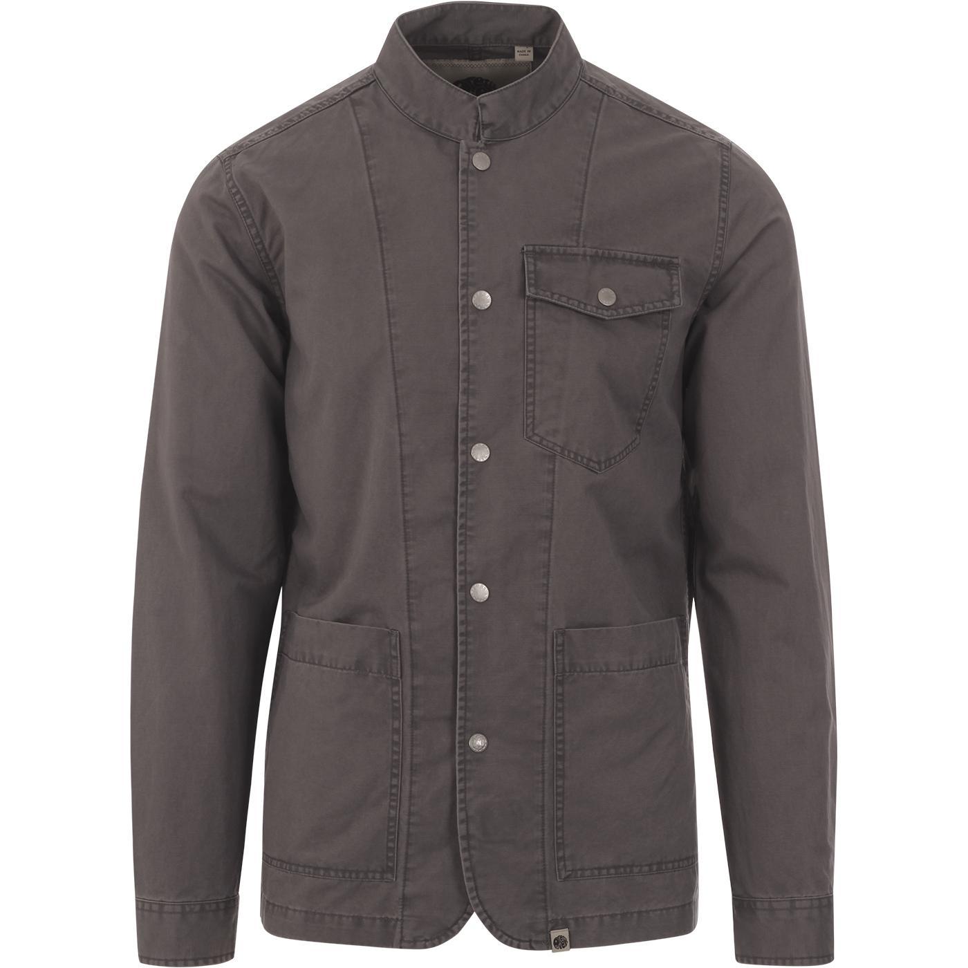 PRETTY GREEN Mod Cotton Collarless Shirt Jacket G