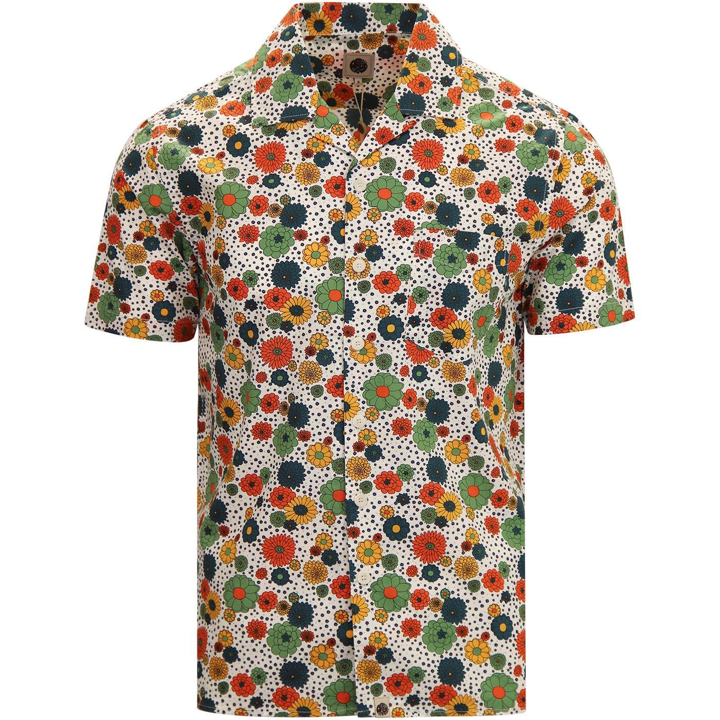 PRETTY GREEN Men's Retro Floral Print Cuban Shirt