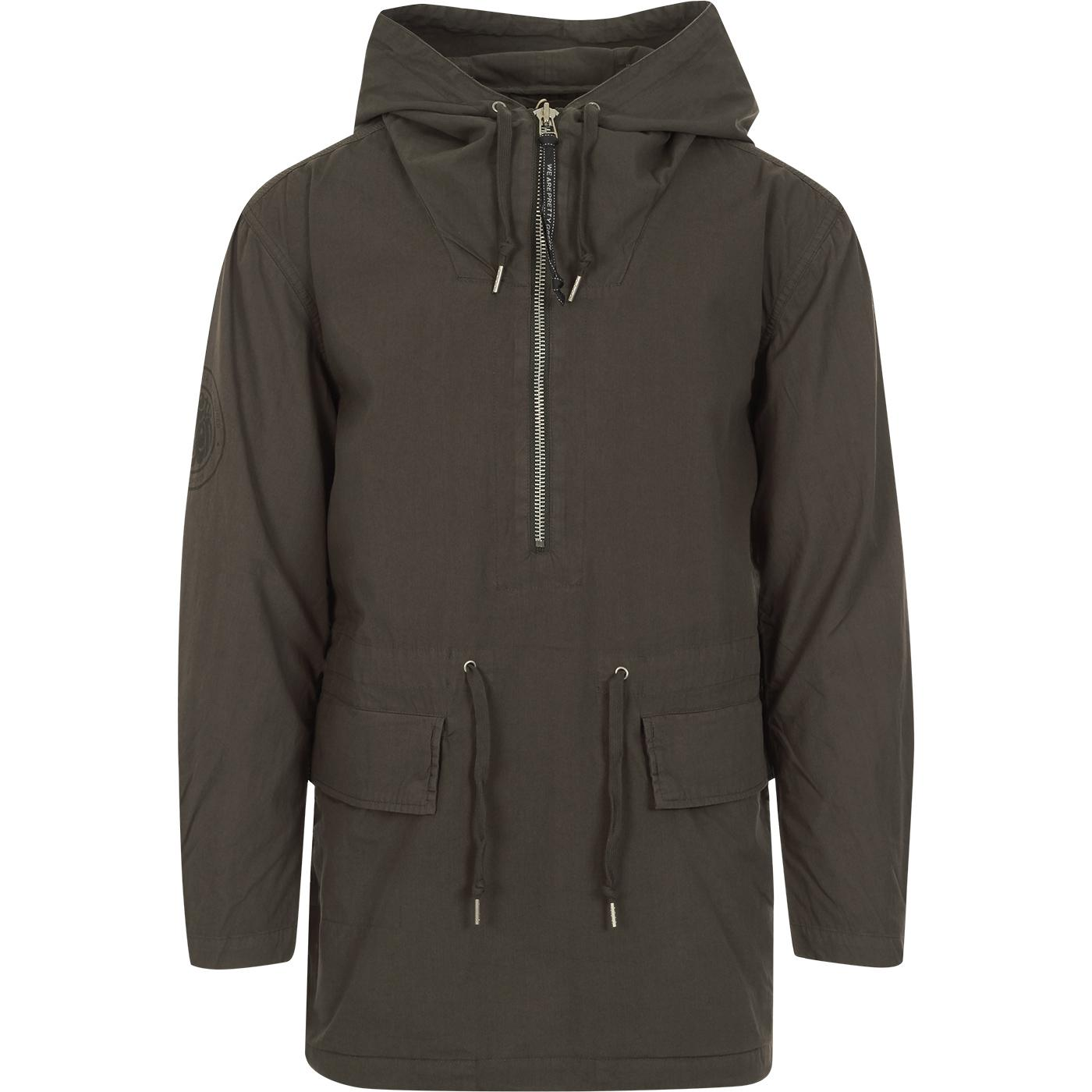 PRETTY GREEN Retro Half Zip Cotton Military Smock