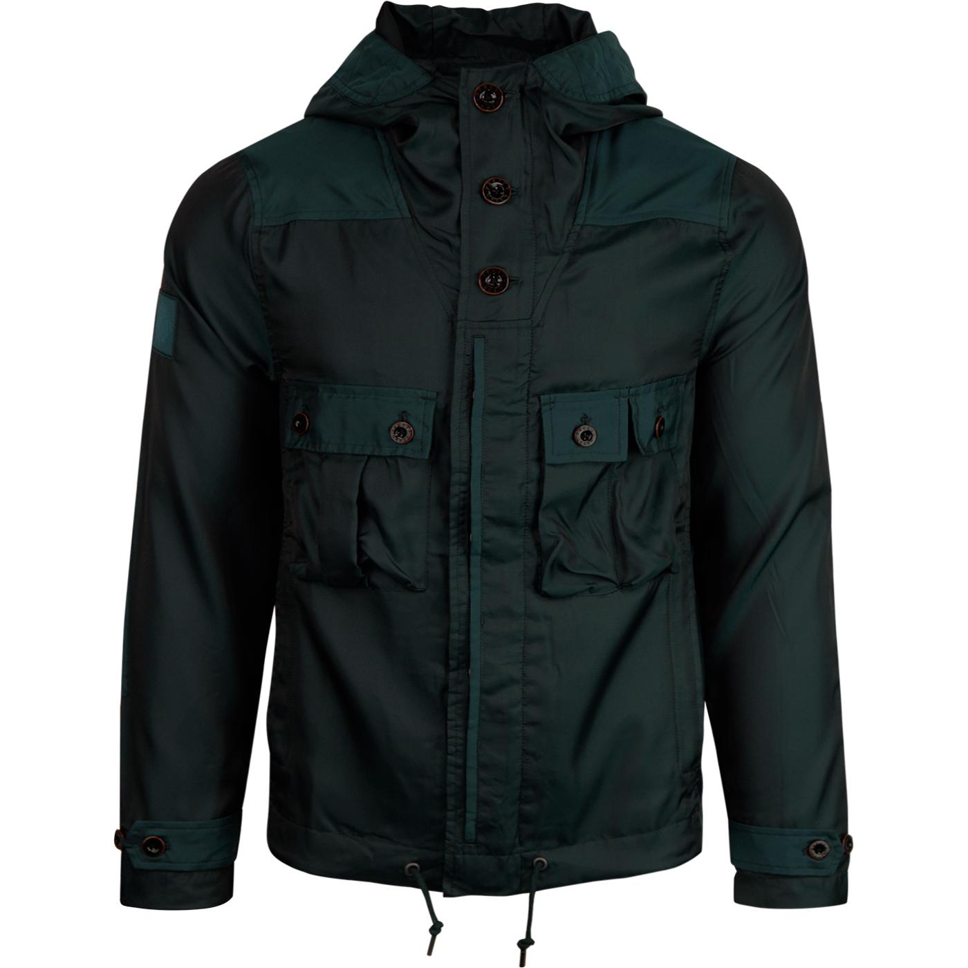 PRETTY GREEN Retro Iridescent Hooded Jacket (Teal)