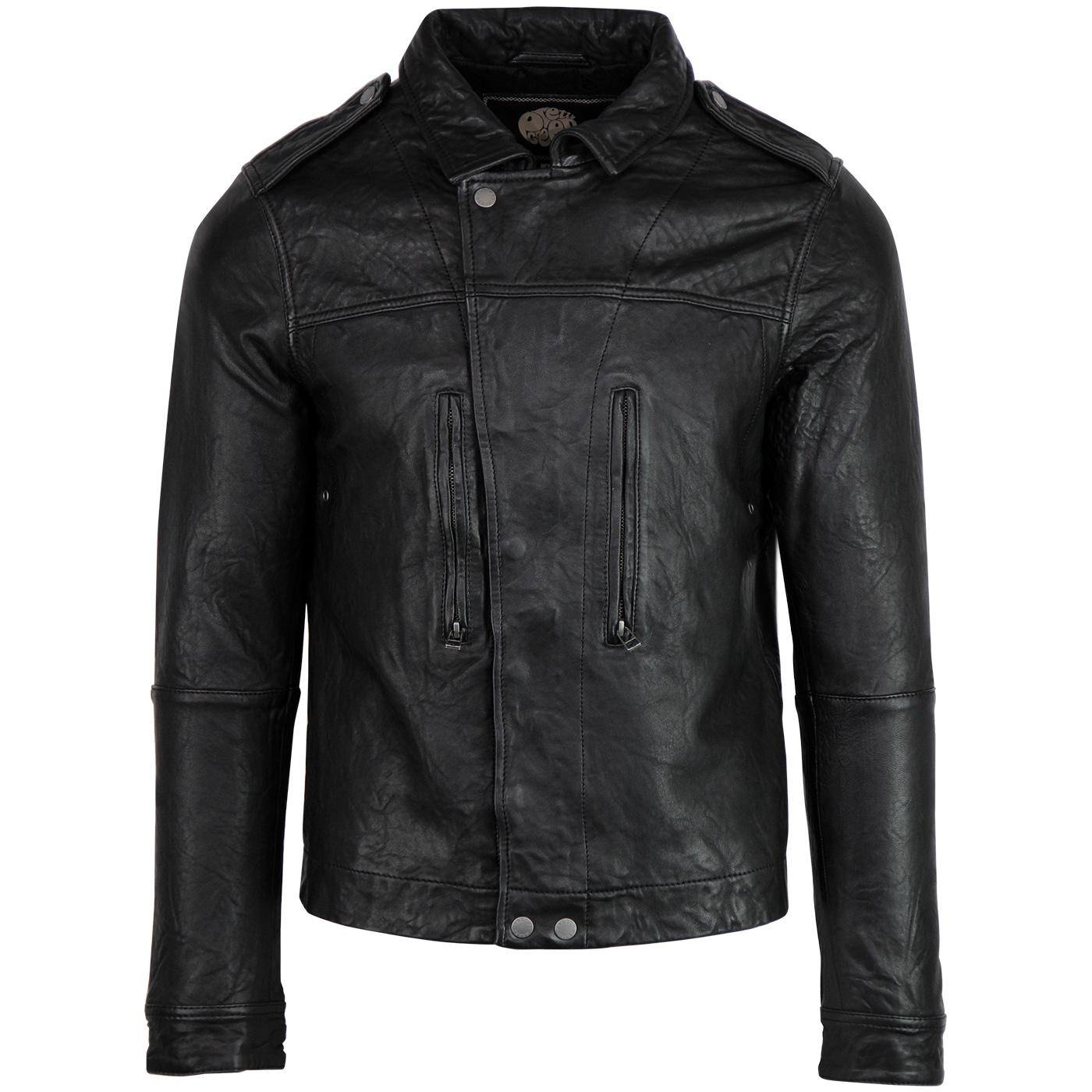 PRETTY GREEN 70's Retro Indie Leather Biker Jacket