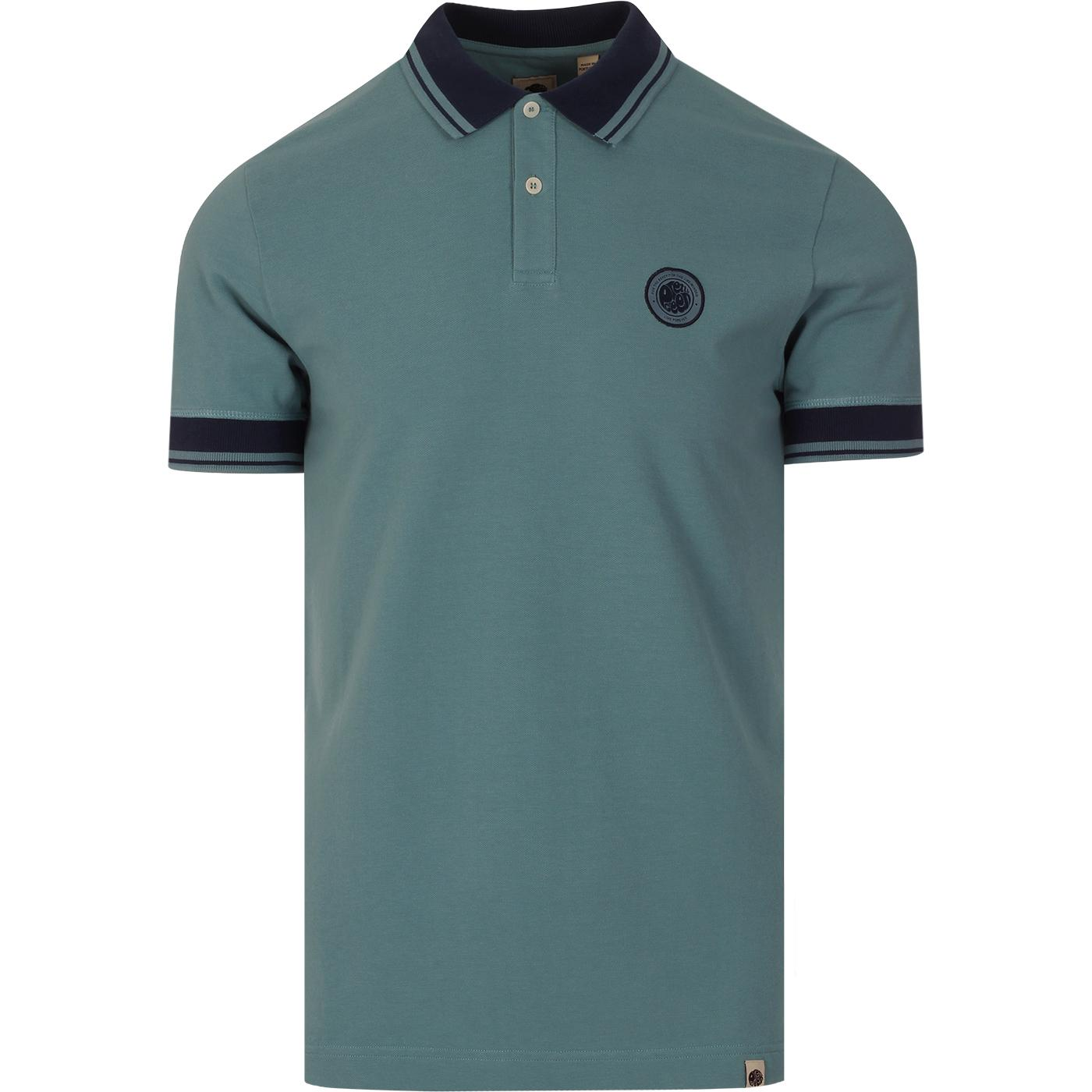 PRETTY GREEN Likeminded Contrast Collar Polo BLUE
