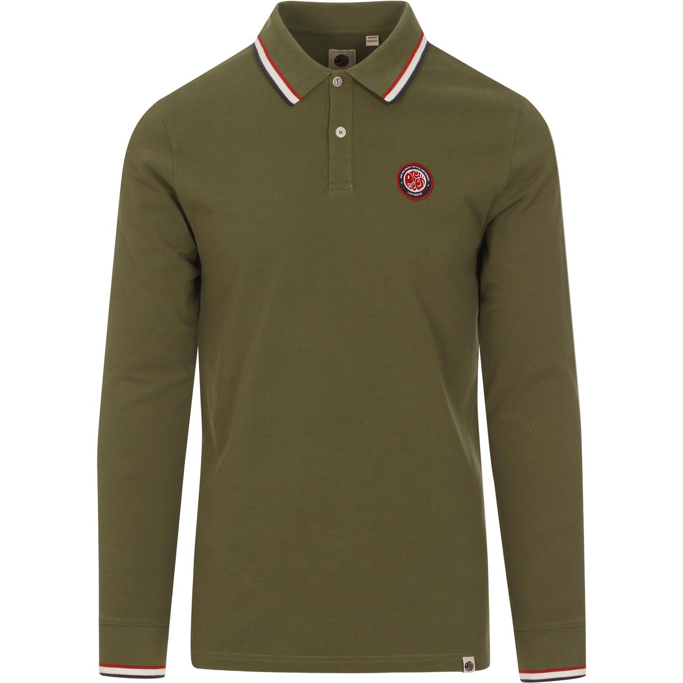 PRETTY GREEN Likeminded Mod Tipped LS Polo (Khaki)