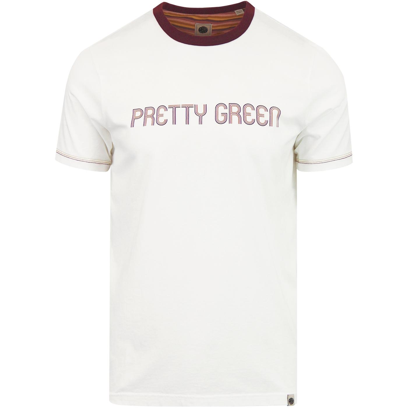 PRETTY GREEN Mens Retro Chest logo Ringer T-Shirt