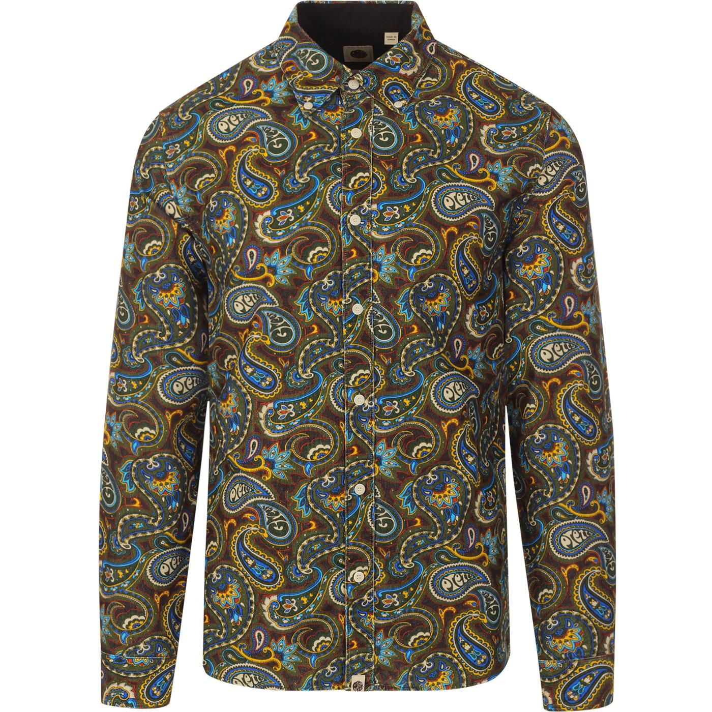 PRETTY GREEN Mod Psychedelic Paisley Cord Shirt