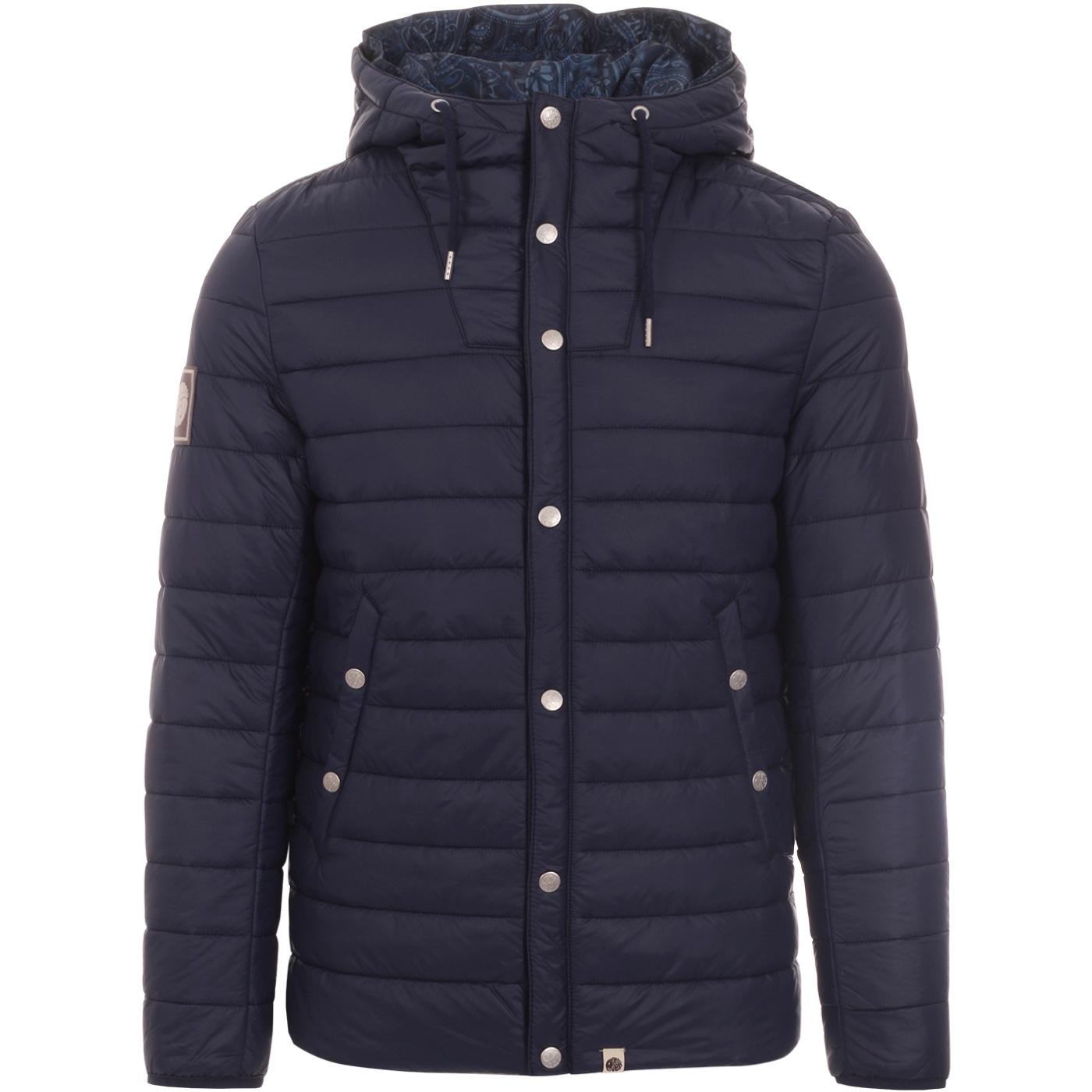 PRETTY GREEN Retro 70s Hooded Quilted Jacket NAVY