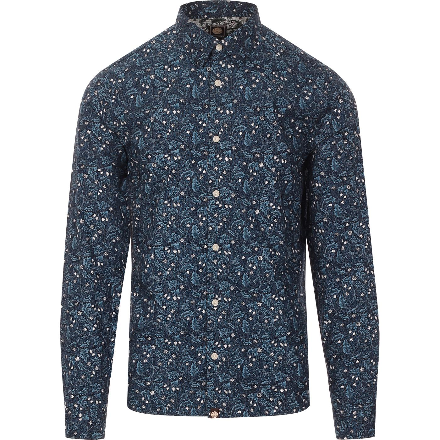 Floral PRETTY GREEN 60s Slim Fit L/S Shirt Navy