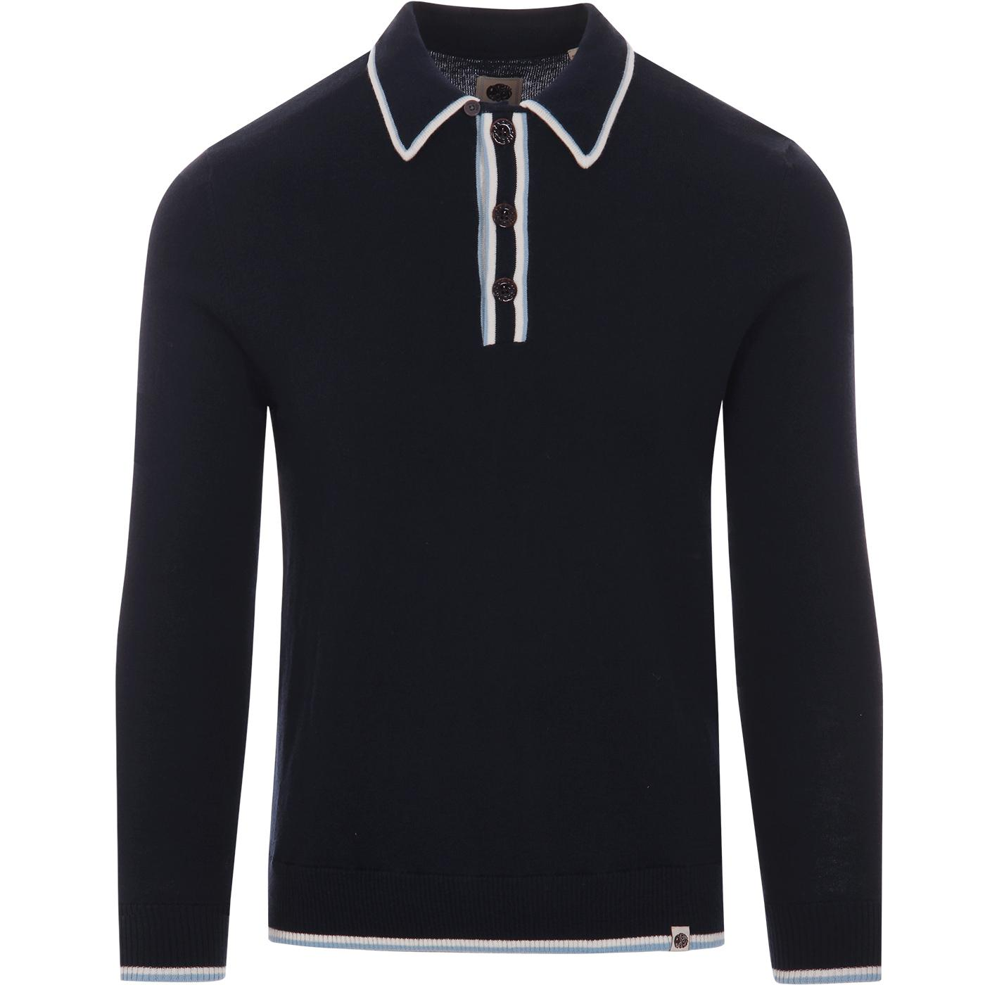 Jenkins PRETTY GREEN Mod Tipped Knit Polo Top NAVY