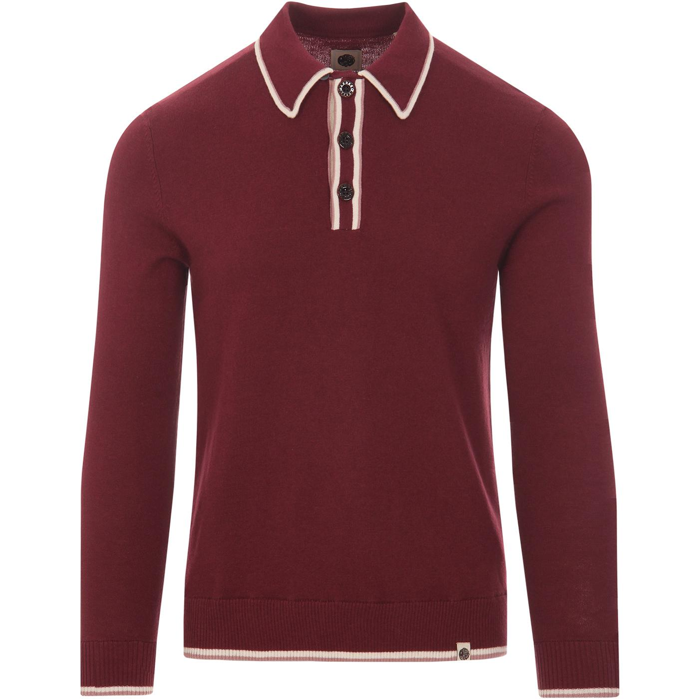 Jenkins PRETTY GREEN Mod Tipped Knit Polo Top RED