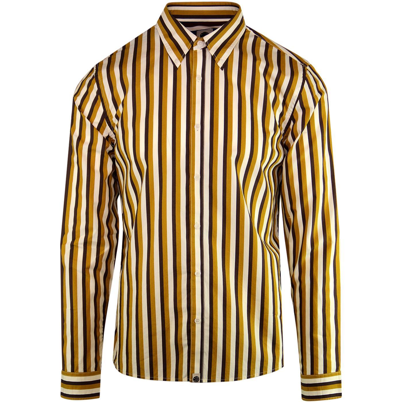 PRETTY GREEN Slim Fit Retro Stripe Shirt Mustard