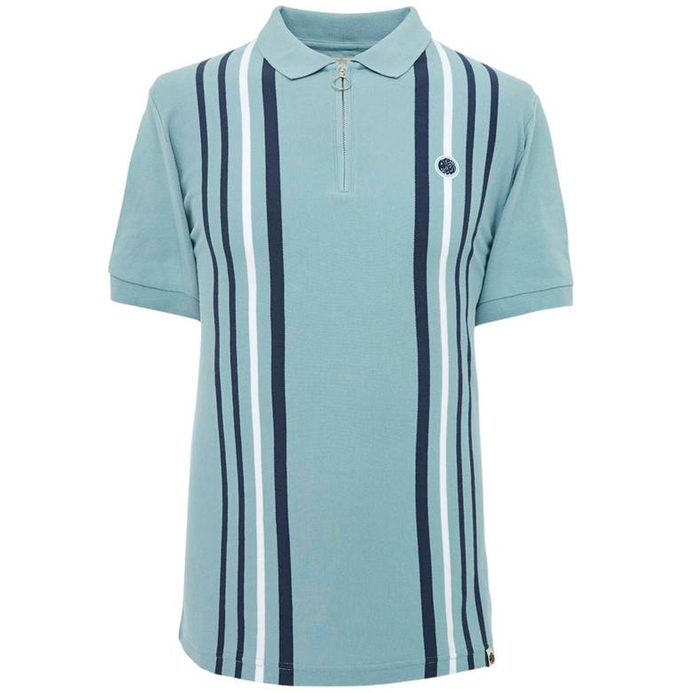 PRETTY GREEN Mod Vertical Stripe Zip Neck Polo Top