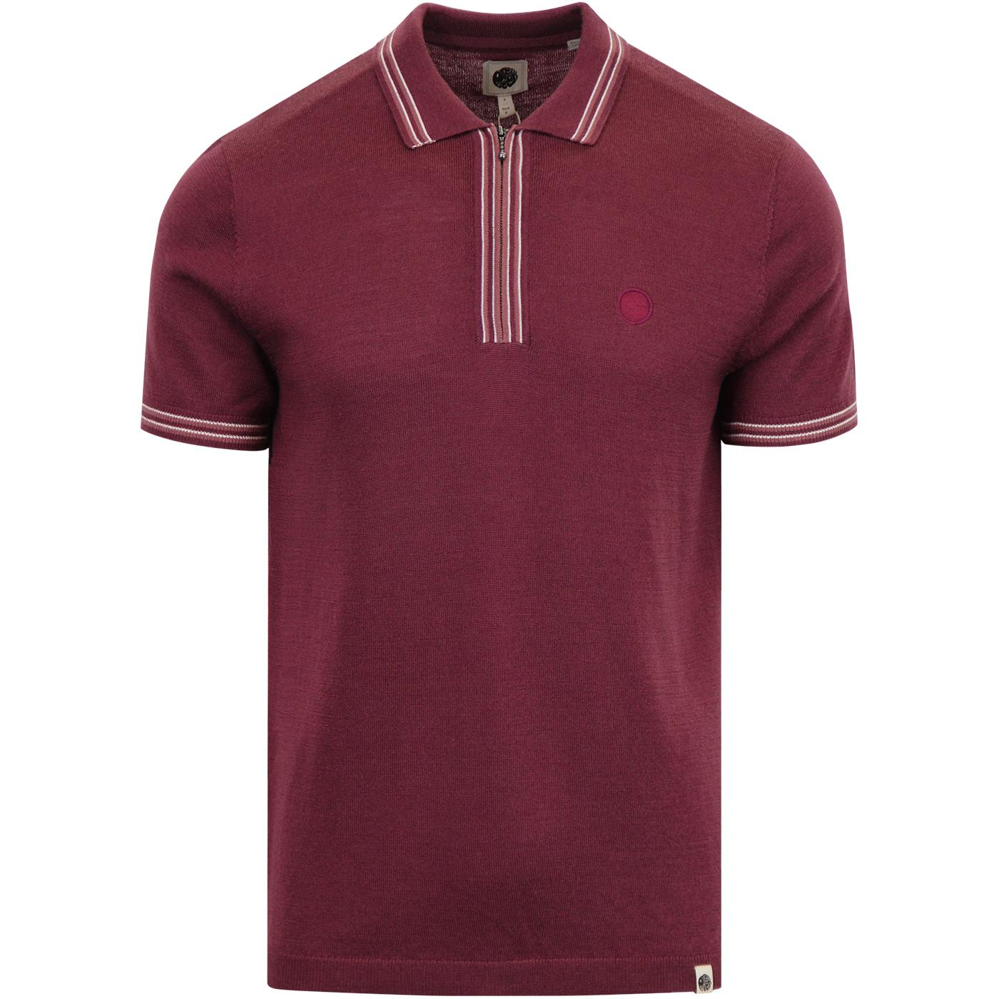 PRETTY GREEN Mod Zip Neck Tipped Knitted Polo Bu