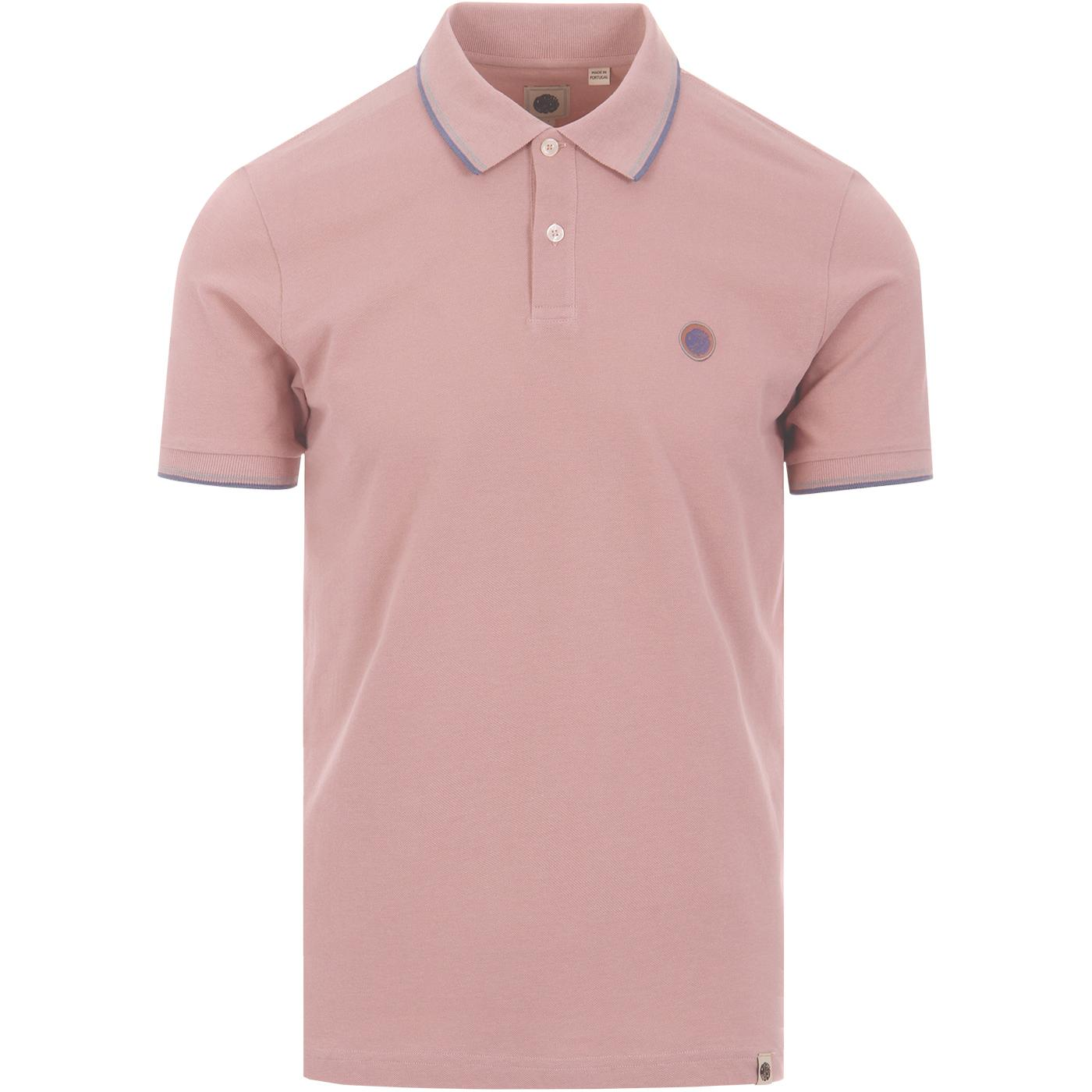PRETTY GREEN Mod Twin Tipped Pique Polo Shirt PINK