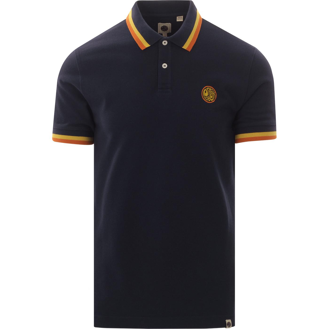 PRETTY GREEN Bold Tipped Mod Badge Polo (Navy)