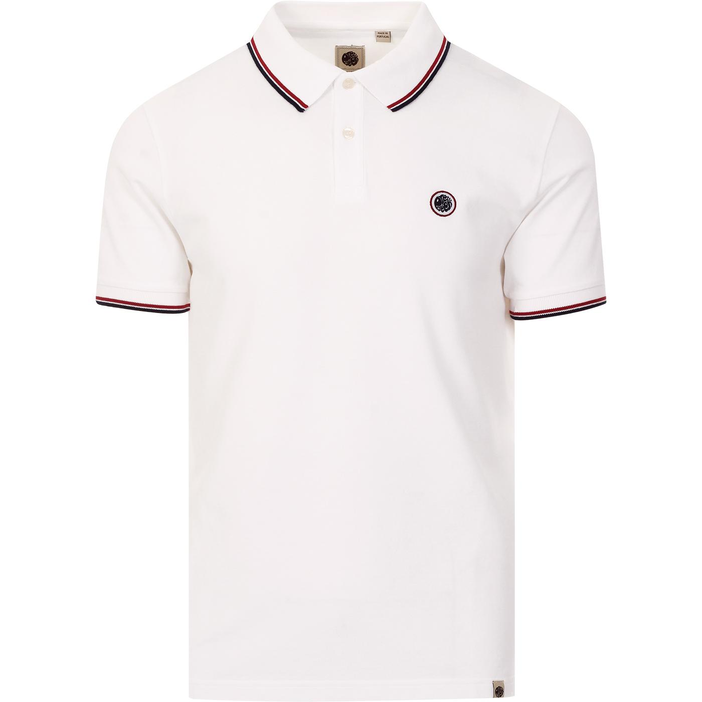 PRETTY GREEN Mod Classic Tipped Polo Top (White)