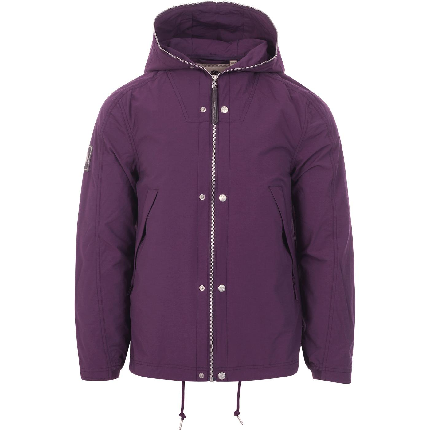 PRETTY GREEN Retro 90s Zip Hooded Jacket (Purple)