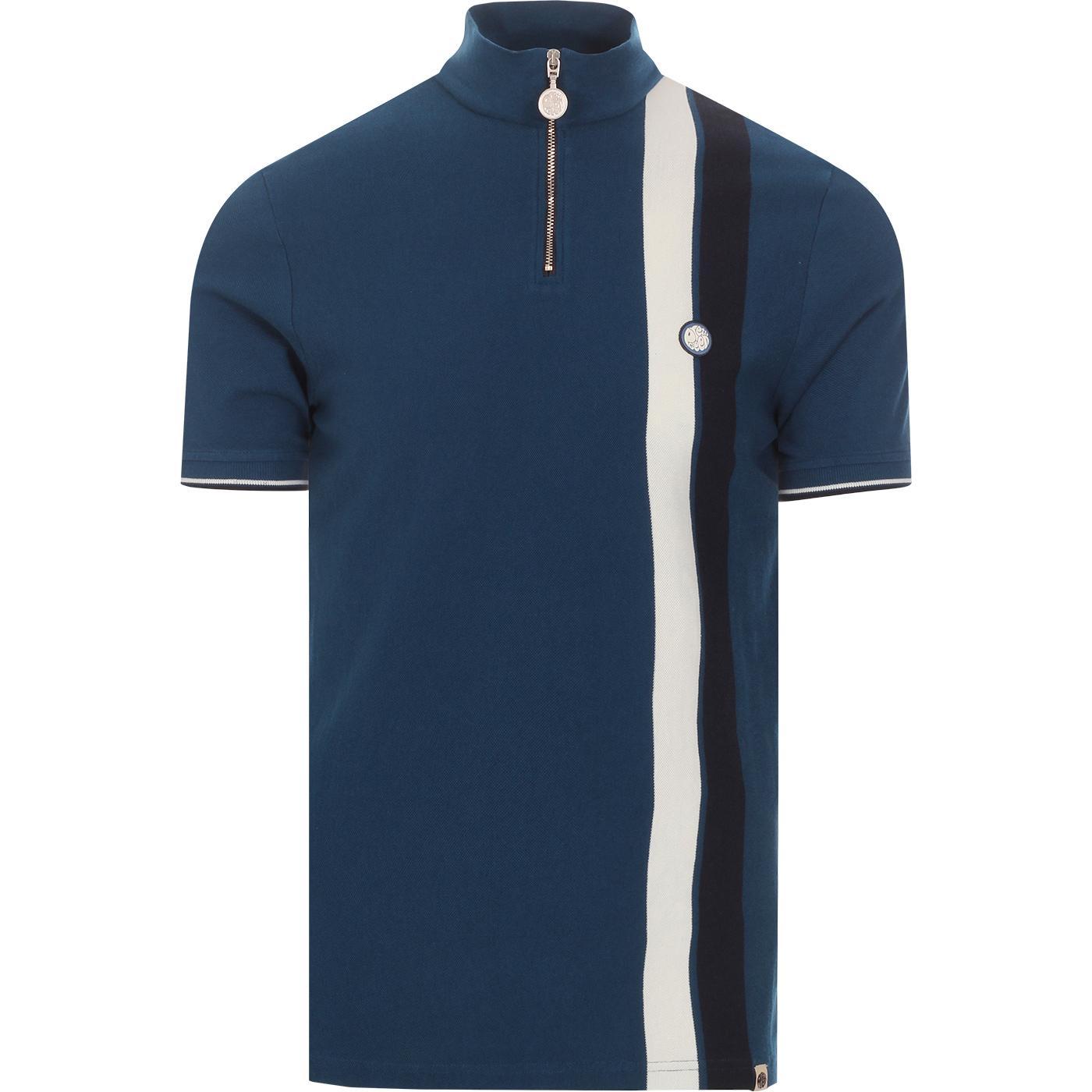 PRETTY GREEN Racing Stripe Zip Cycling Top (Blue)