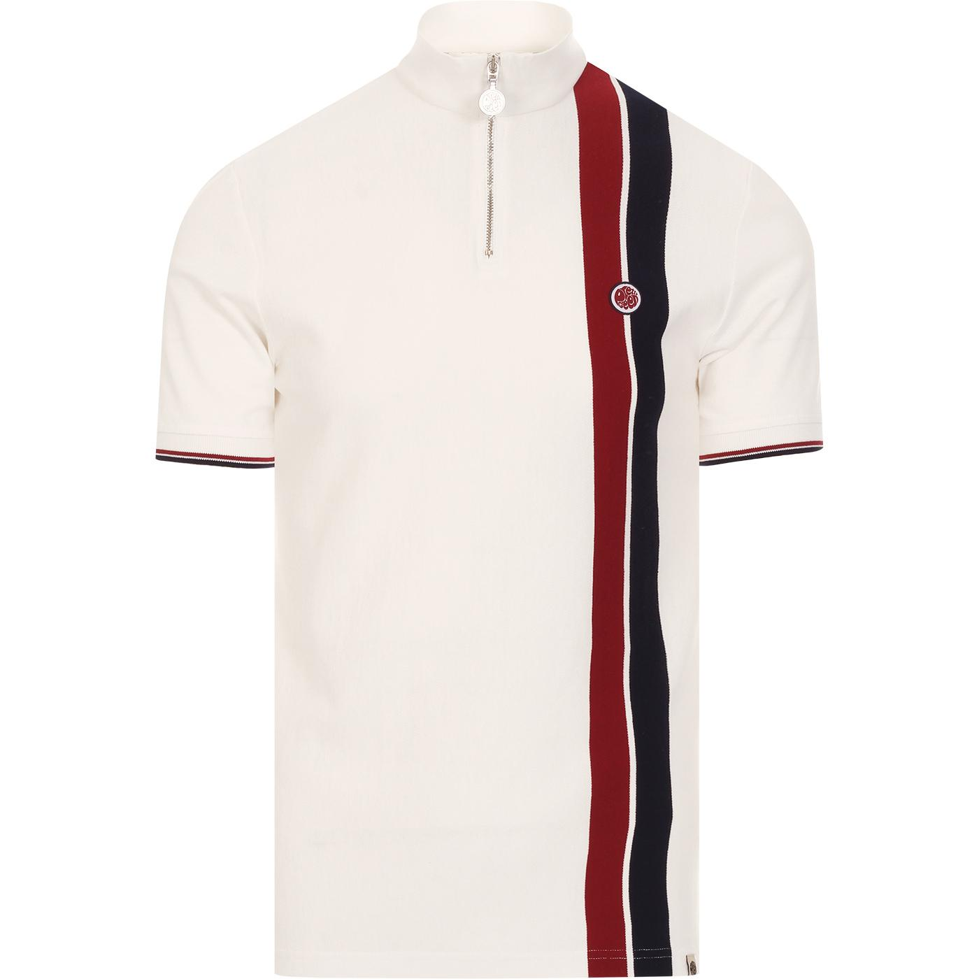 PRETTY GREEN Racing Stripe Zip Neck Cycling Top W