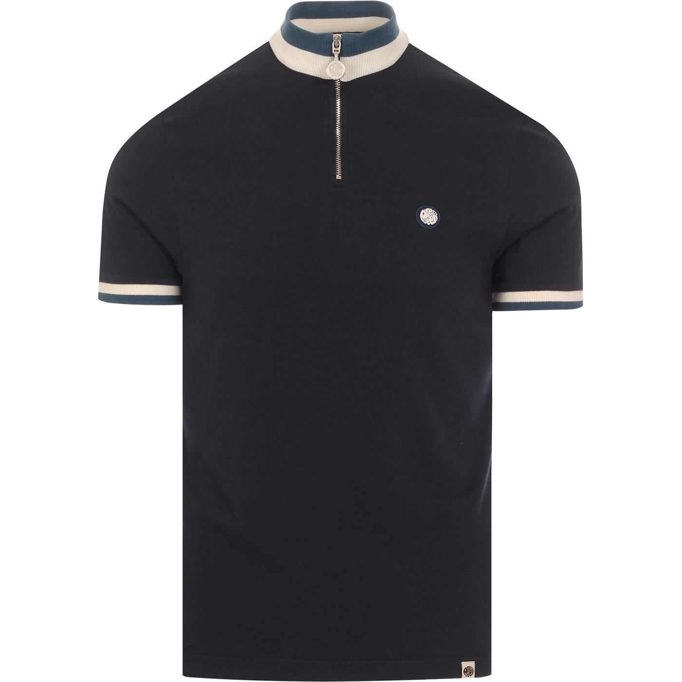 PRETTY GREEN Mod Tipped Zip Neck Cycling Top NAVY