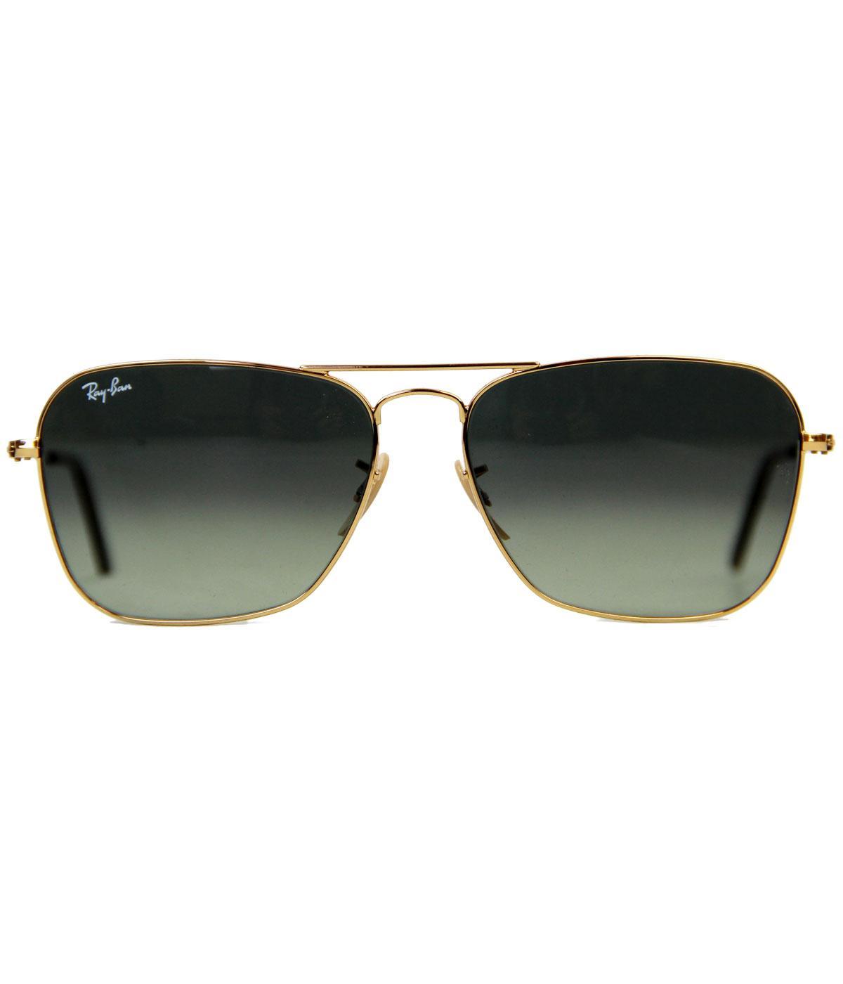 Ray-Ban Caravan Retro 60s Mod Sunglasses in Gold Grey 0RB3136