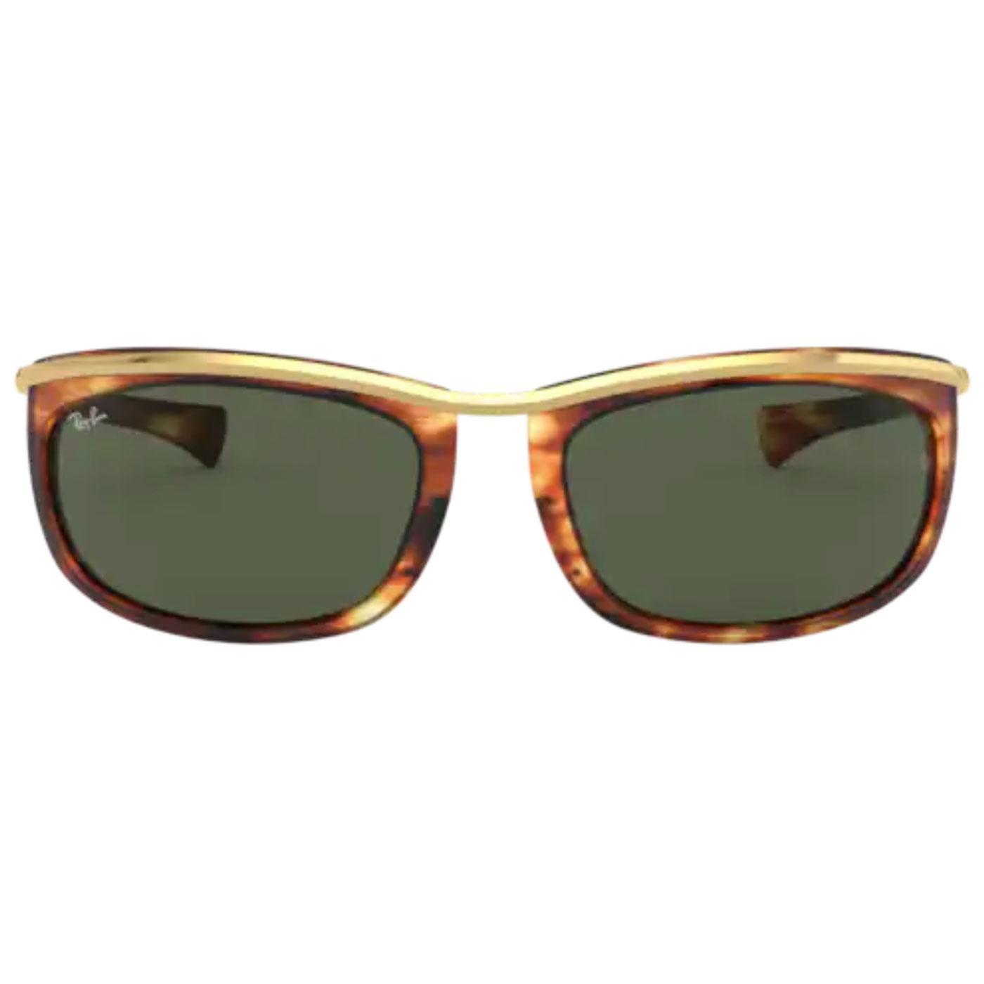 Olympian RAY-BAN Retro Striped Havana Sunglasses