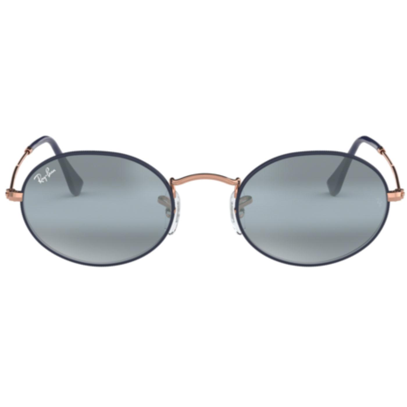 RAY-BAN Oval Retro 60s Mod Sunglasses Copper/Blue