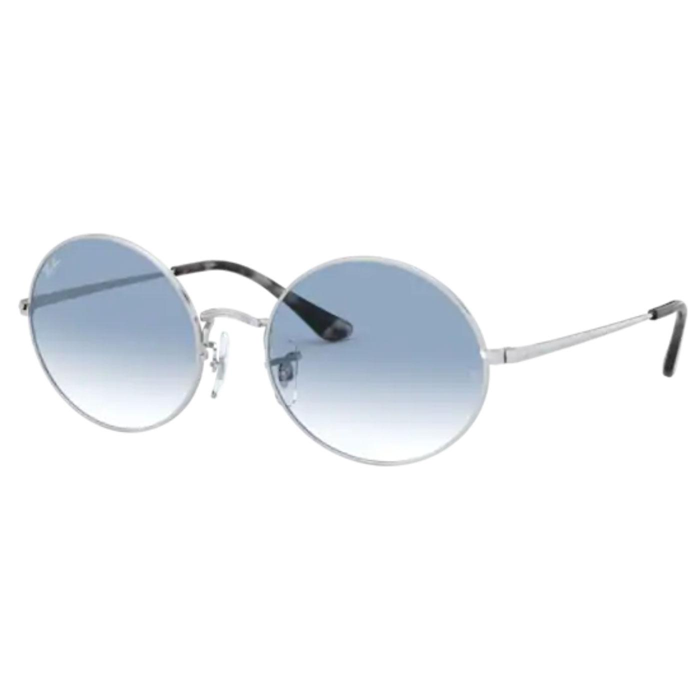 RAY-BAN RB1970 Retro Oval Sunglasses (Silver/Blue)