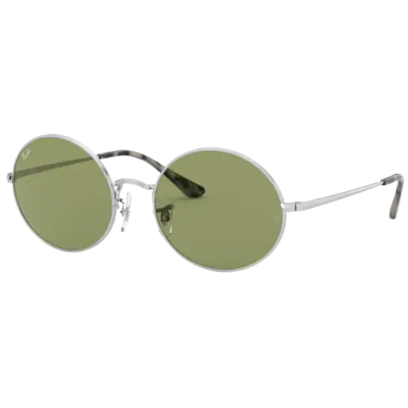 RAY-BAN RB1970 Retro Oval Sunglasses SILVER/GREEN