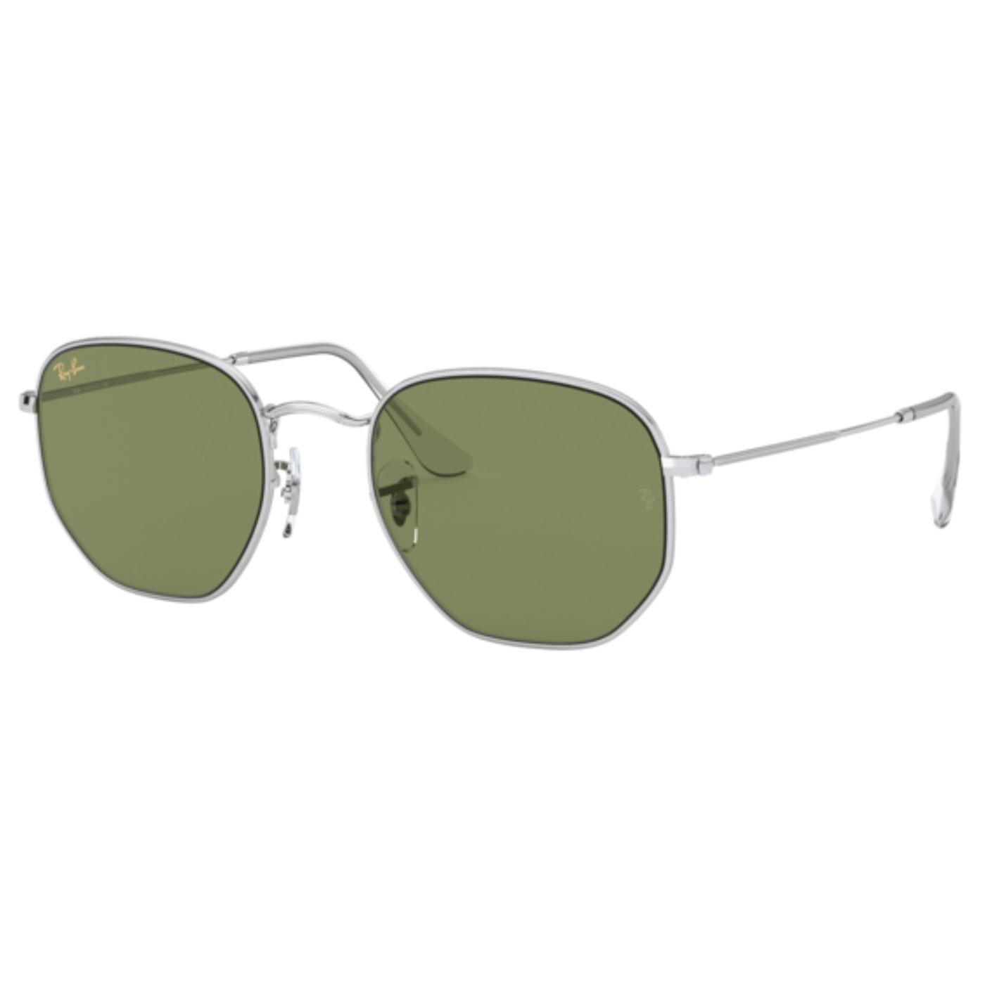 RAY-BAN RB3548 Hexagon Sunglasses (Silver/Green)