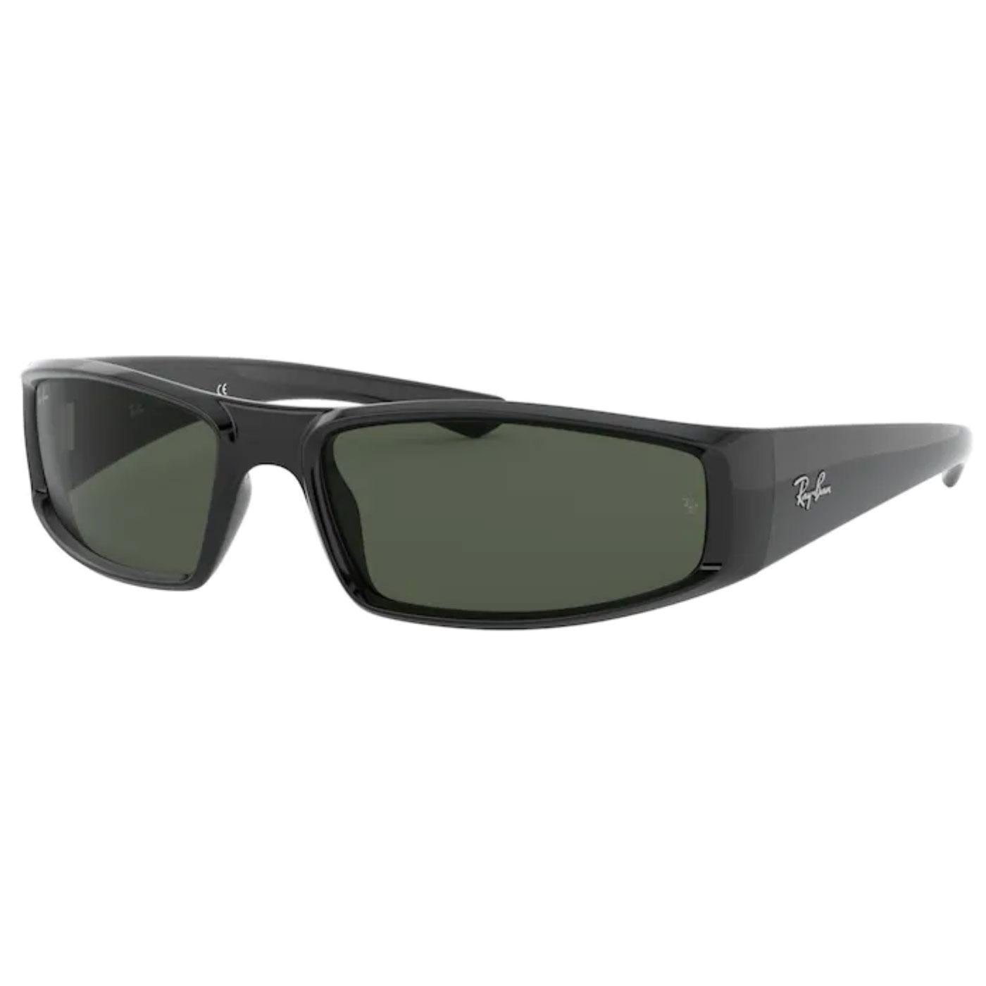 RAY-BAN RB4335 Retro Wrap Round Sunglasses BLACK