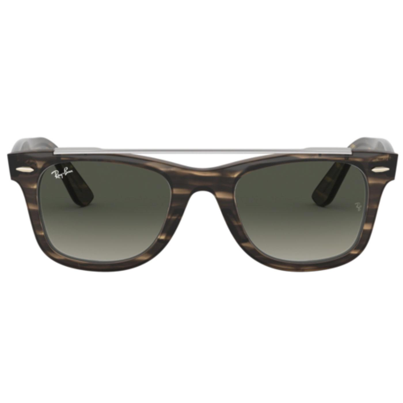 RAY-BAN Stripped Brow Bar Wayfarer Sunglasses (Br)