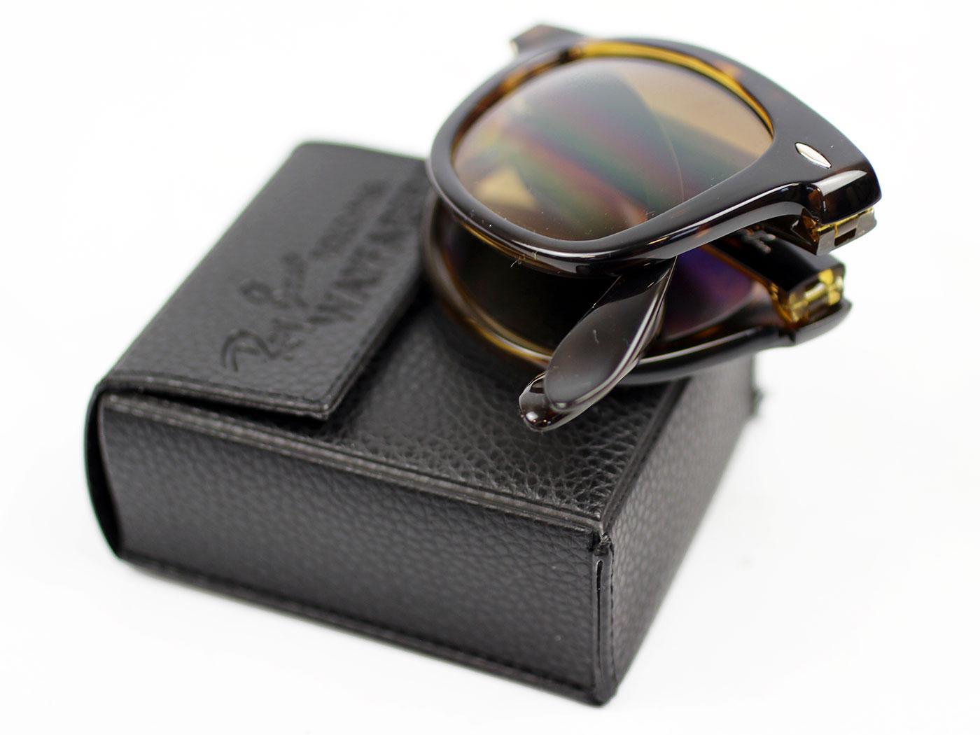 ray ban folding wayfarer sunglasses lite tort  ray ban folding wayfarers retro mod sunglasses (t)