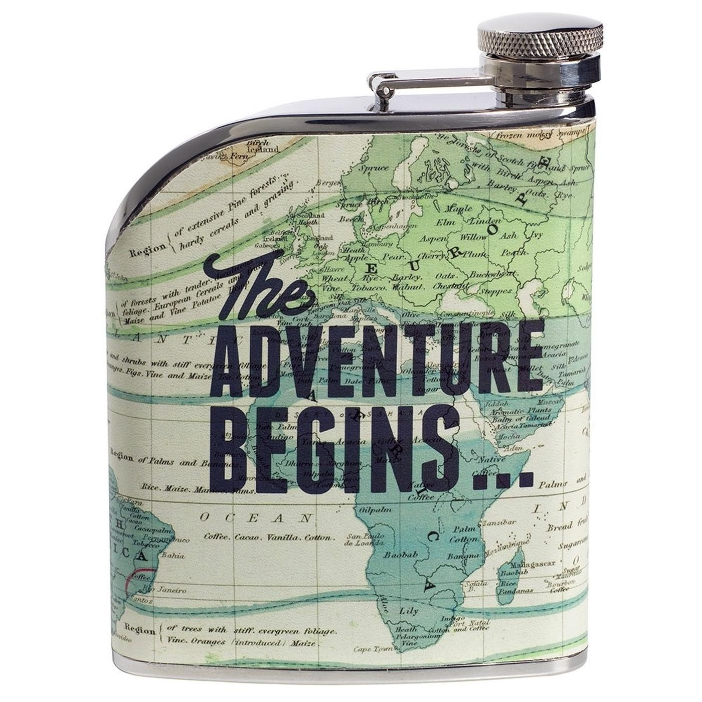 Cartography Retro Vintage Travel Map Hip Flask