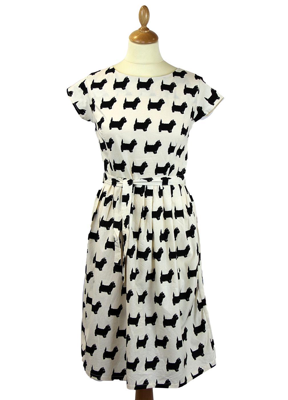 Scottie Dog Retro 1950s Vintage Summer Tea Dress In Ecru Black
