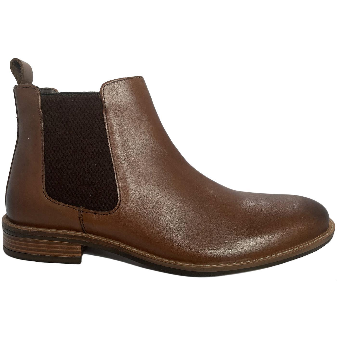 Men's Retro Mod Leather Chelsea Boots (Brown)