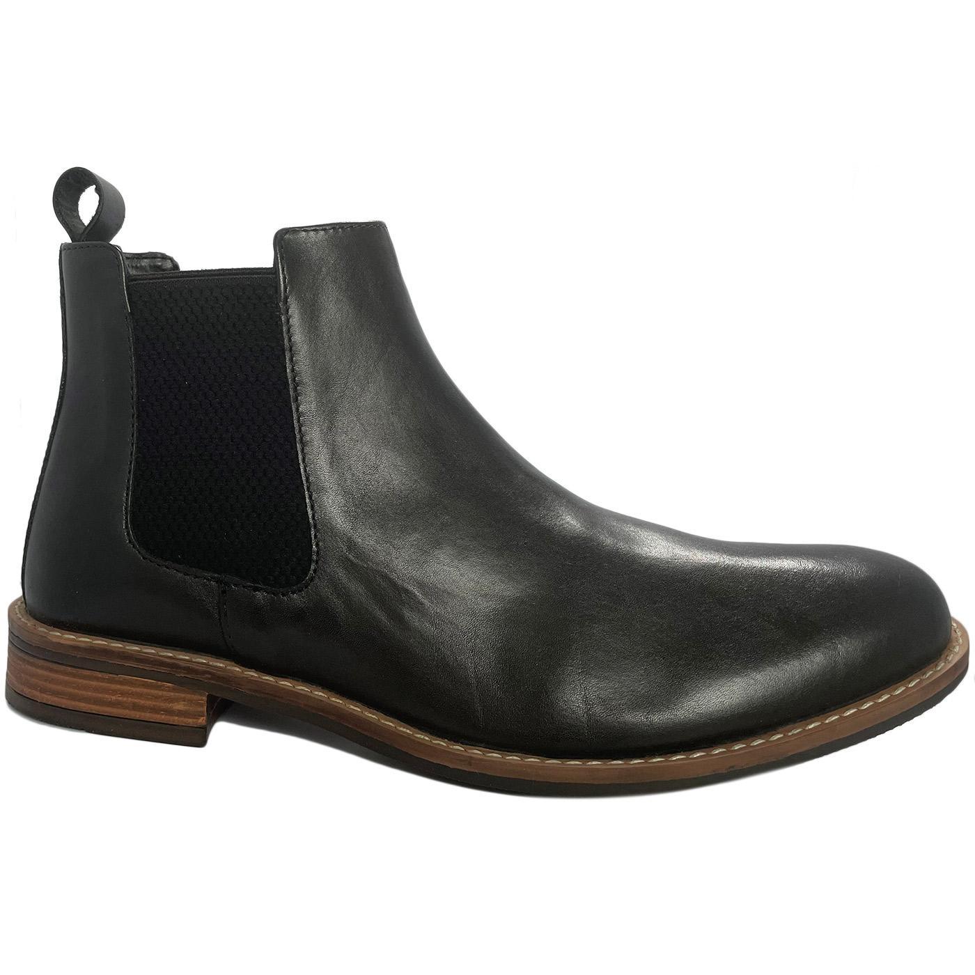 Men's Retro Mod Leather Chelsea Boots (Black)