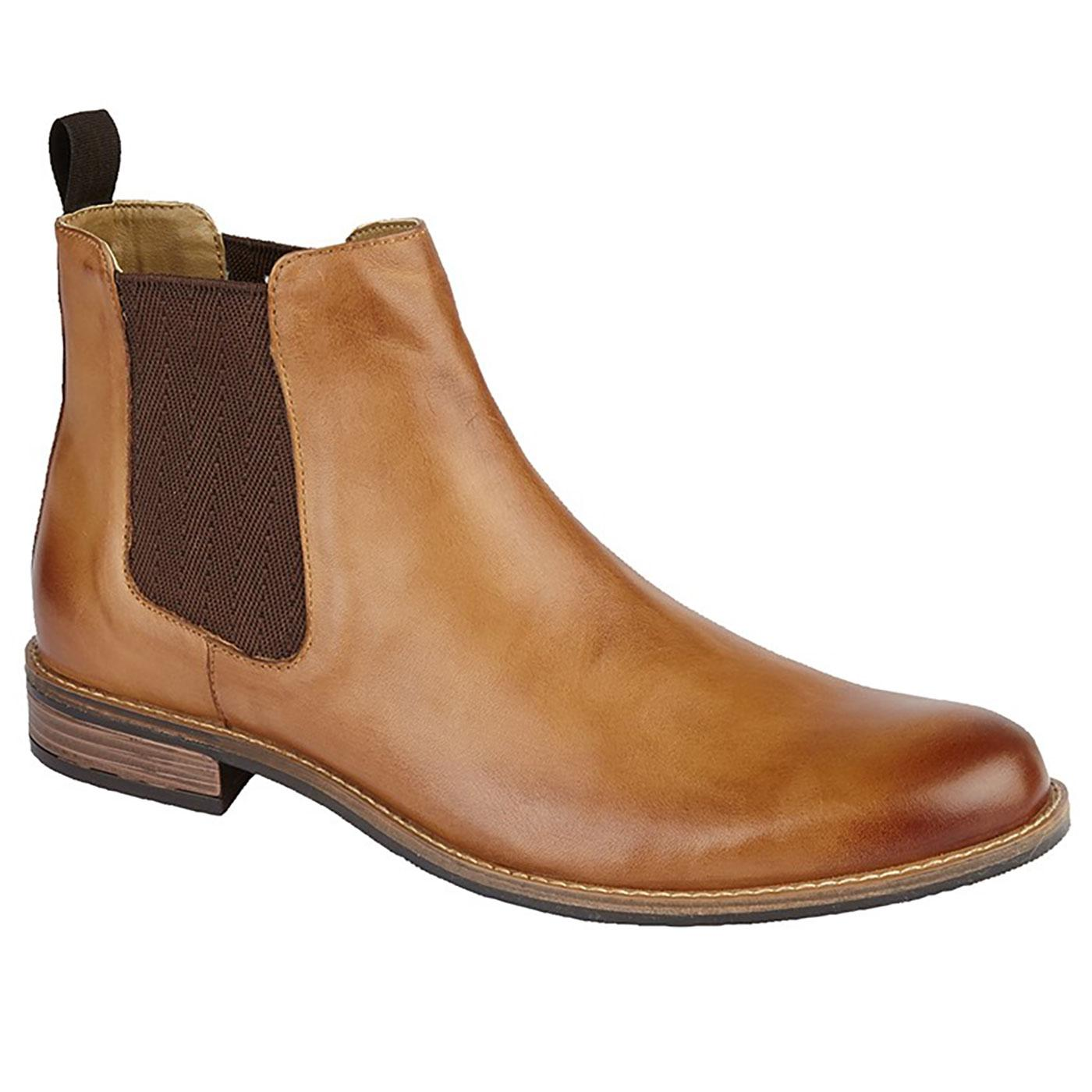 Men's Retro Mod Chelsea Boots in Tan Leather
