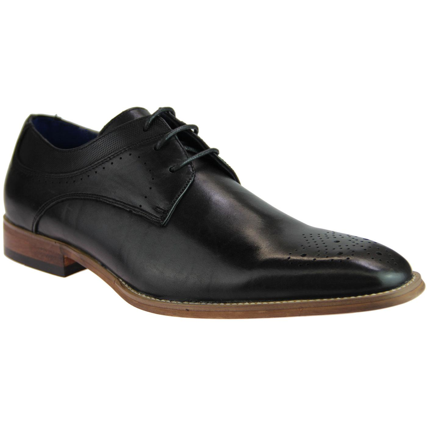 Mens Retro Mod Leather Gibson Brogue Shoes (Black)