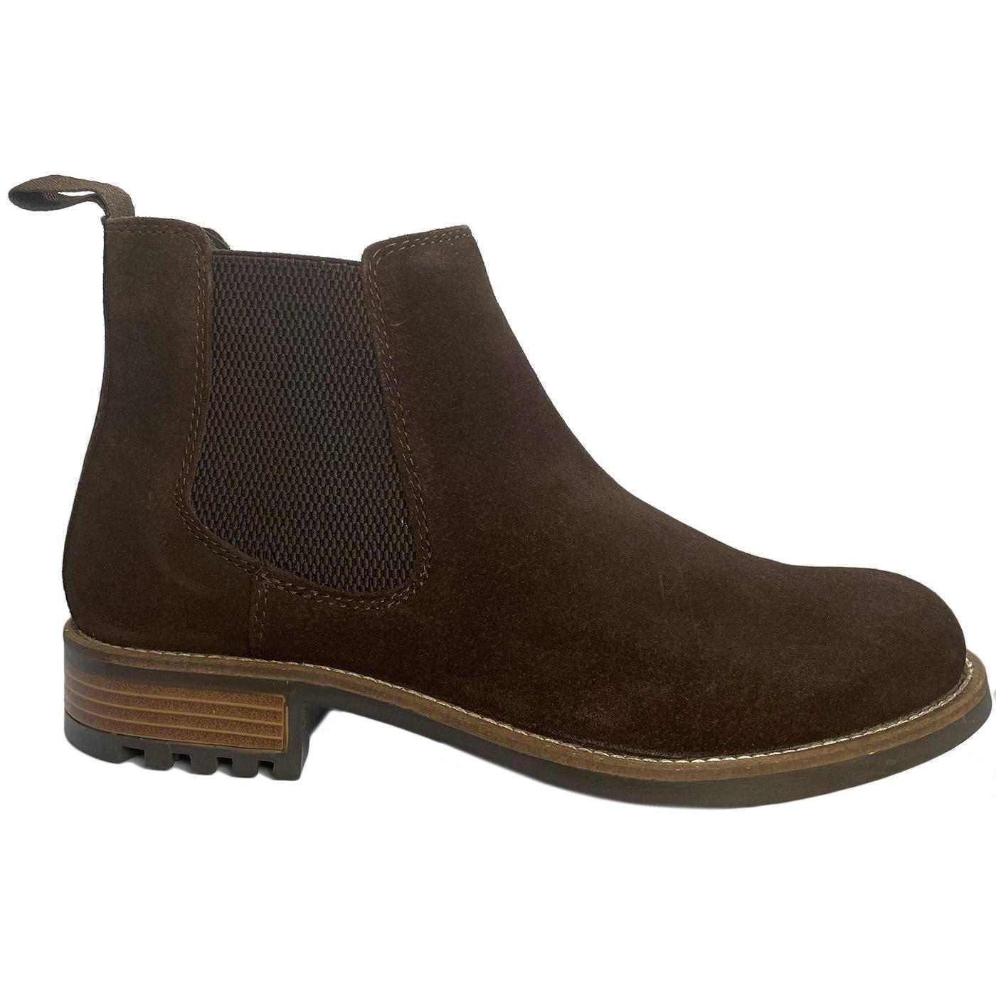 Men's Retro Mod Suede Chelsea Boots (Dark Brown)