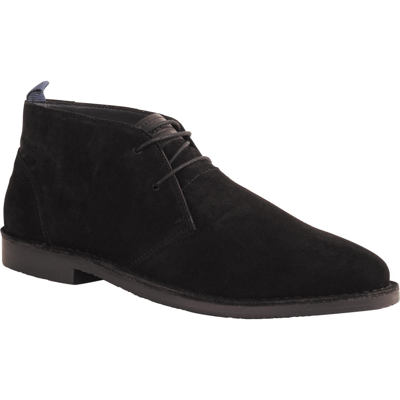 Men's Retro Mod Classic Suede Desert Boots (Black)
