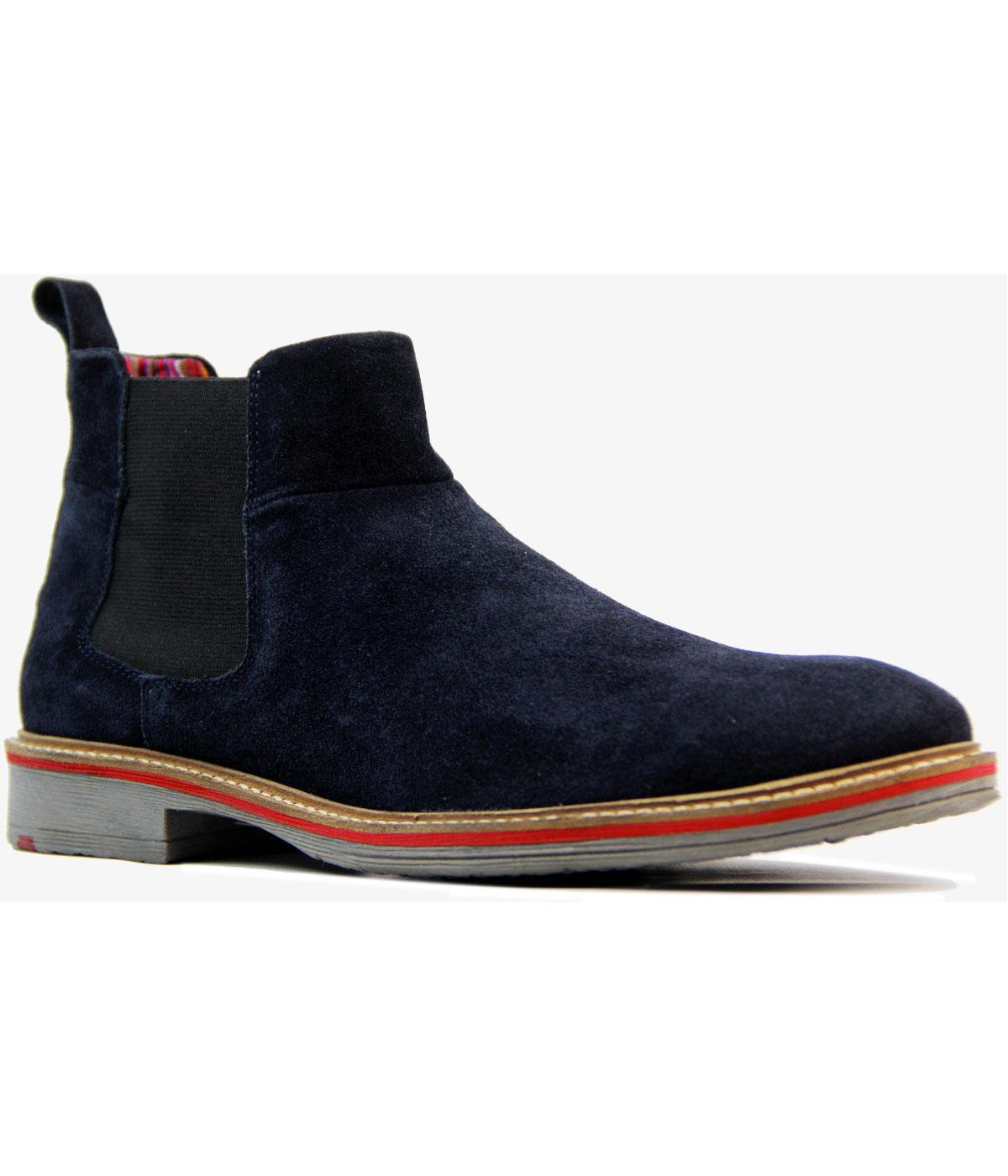 Retro 1960s Mod Suede Tipped Colour Chelsea Boots