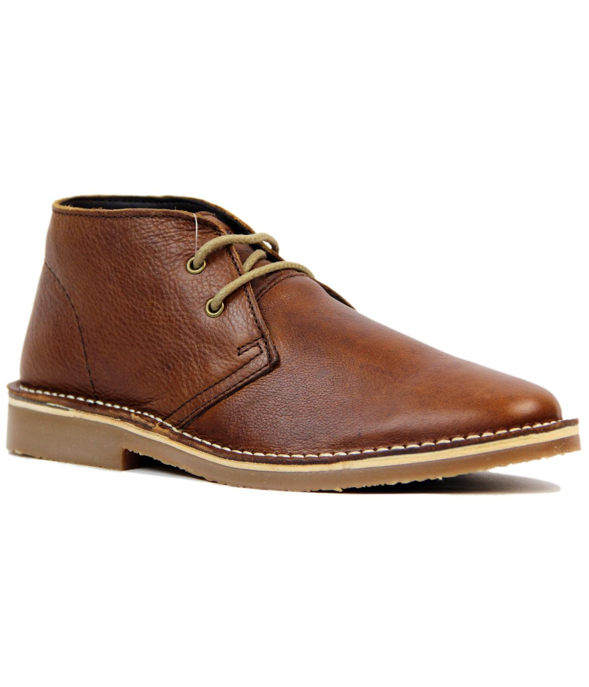 Sidebury Retro Mod Tumbled Leather Desert Boots