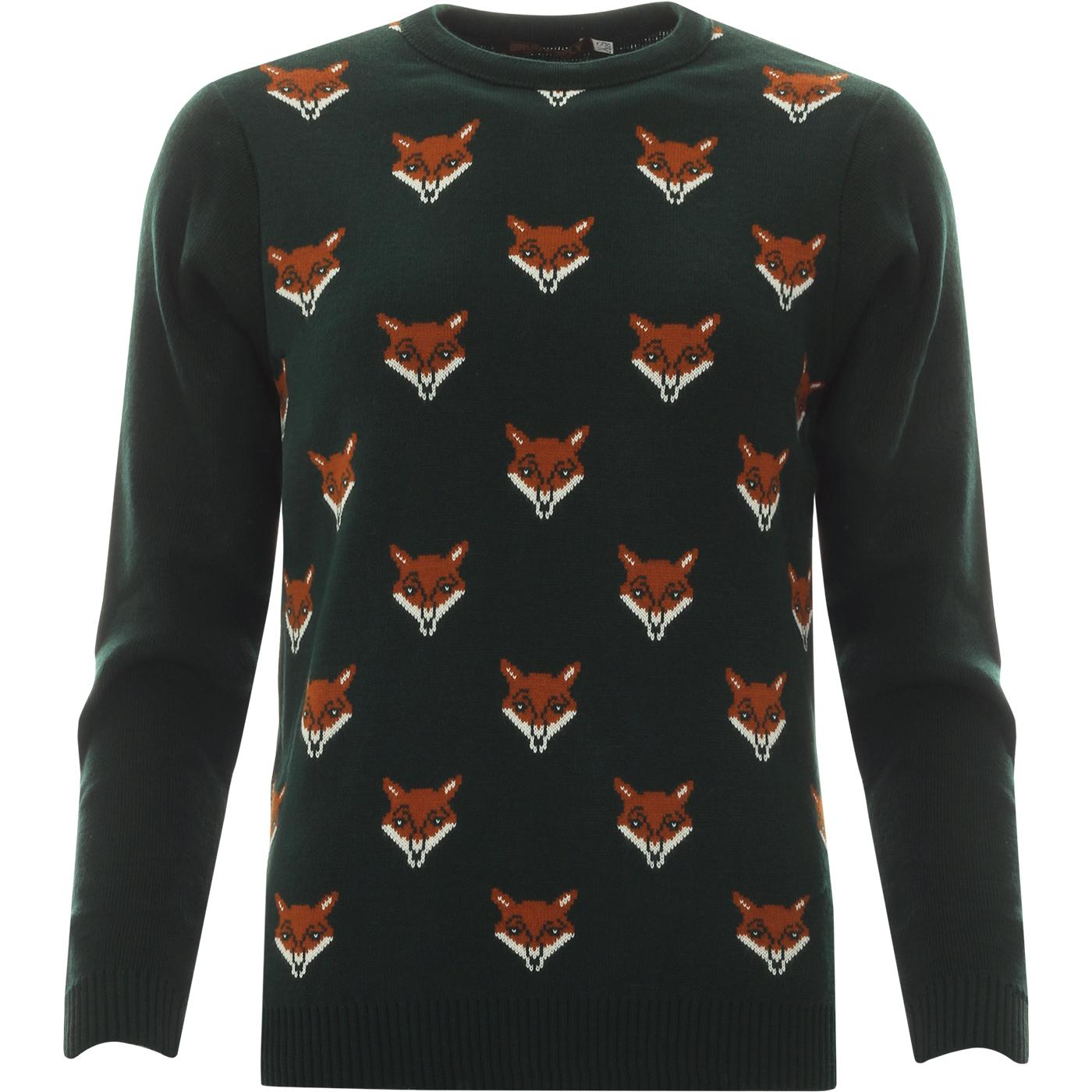 Fox Face Retro 70s Intarsia Knit Jumper (Green)
