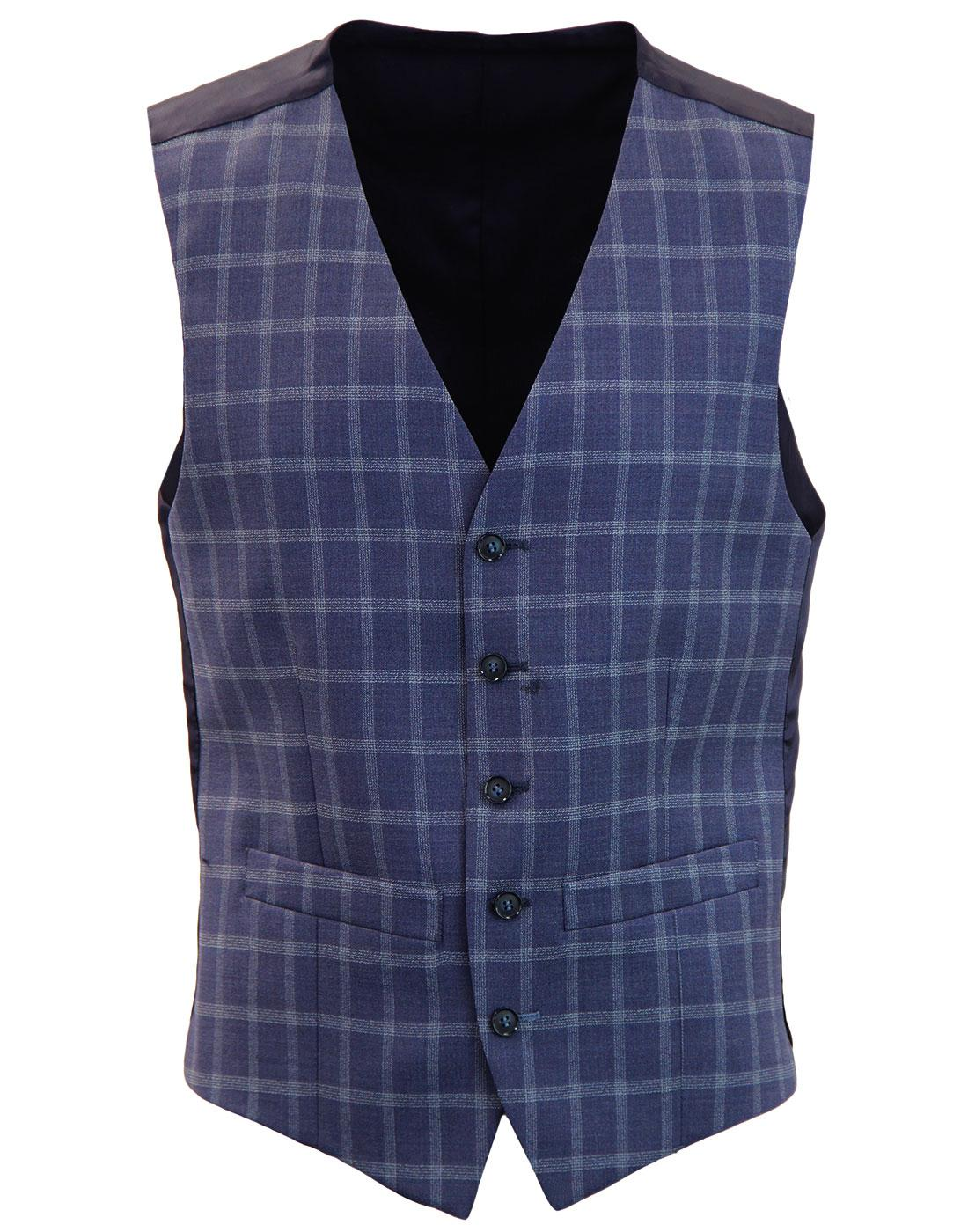 Men's Retro 1960s Mod Block Check Waistcoat BLUE