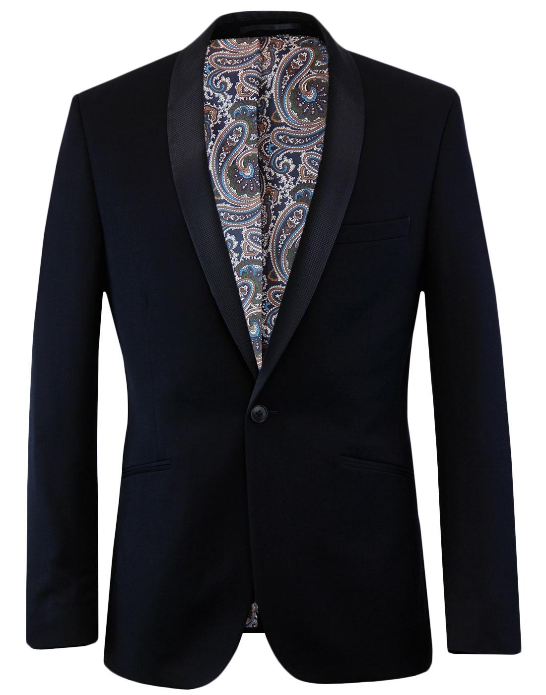 Men's Retro Navy Twill Shawl Collar Dinner Jacket