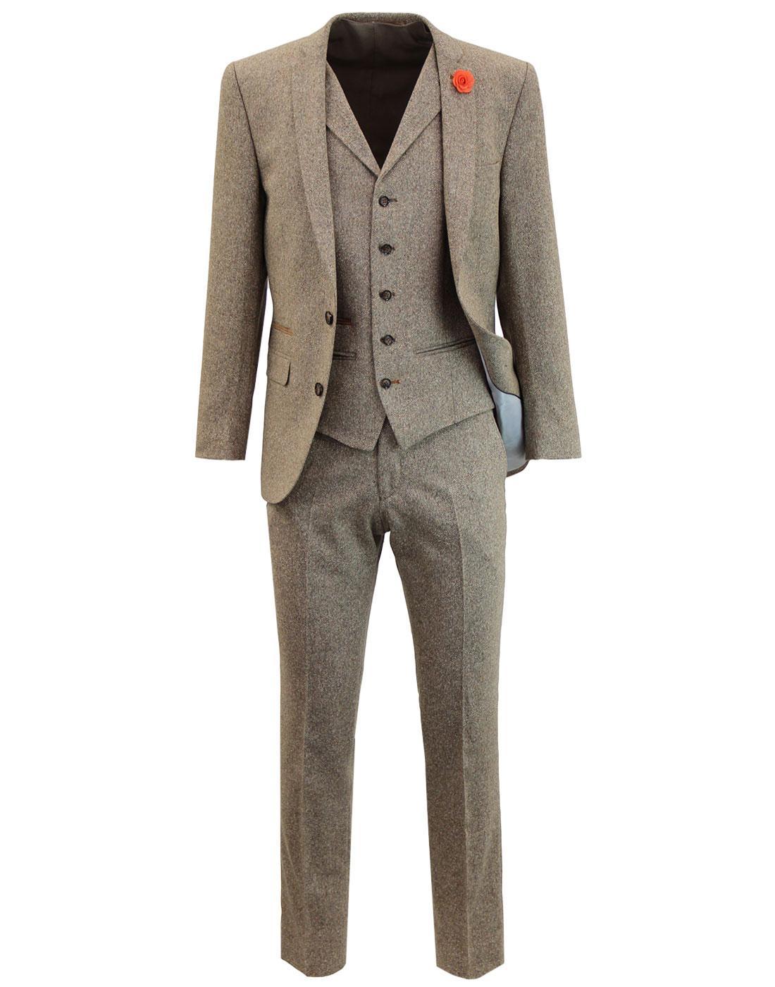Men's 60s Mod Donegal Fleck 2 Button Suit -Biscuit