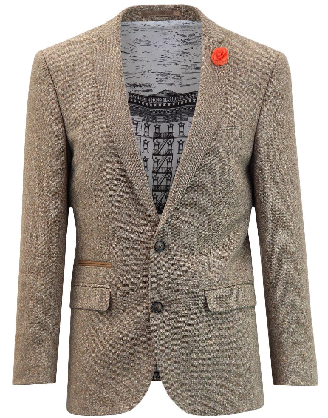 60s Mod Donegal Fleck 2 Button Suit Jacket BISCUIT