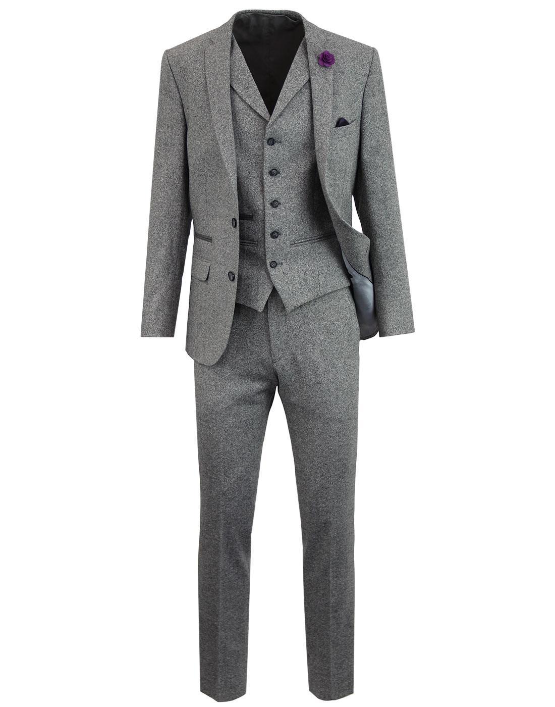 Men's 60s Mod Donegal Fleck 2 Button Suit - Silver