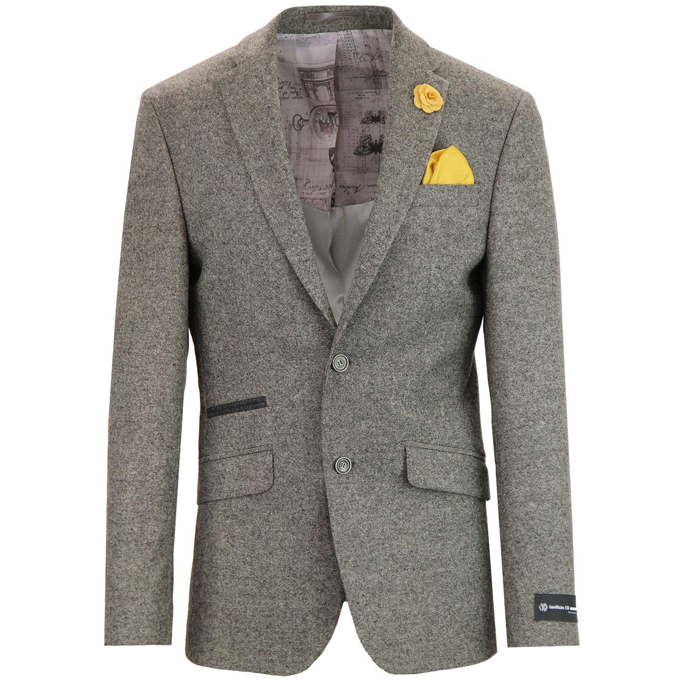 Men's 1960s Mod 2 Button Taupe Donegal Suit Jacket