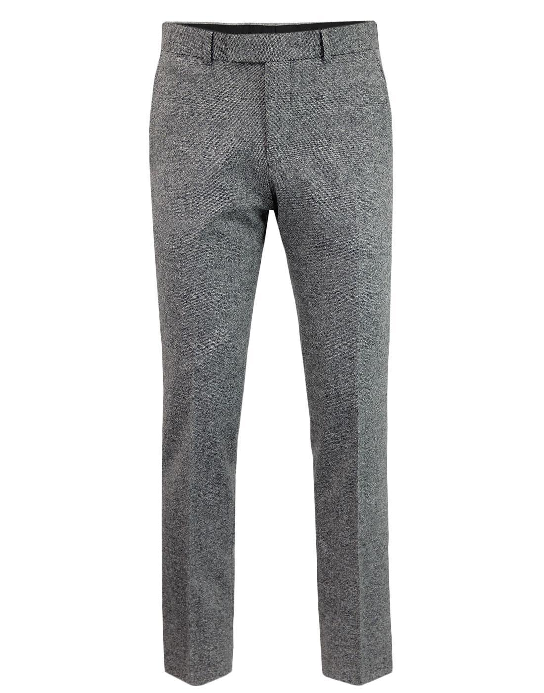 Retro Mod Donegal Fleck Slim Suit Trousers SILVER